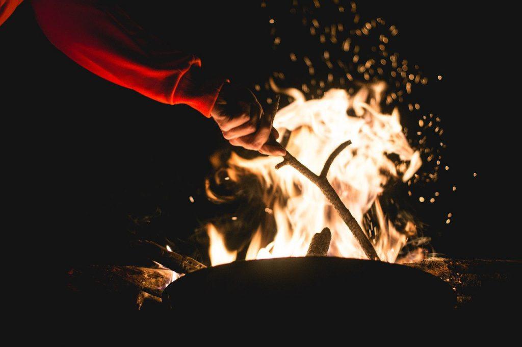 campfire, stick, fire